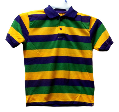 Child Large Mardi Gras Stripe Purple Green Yellow Knit SS Polo Shirt