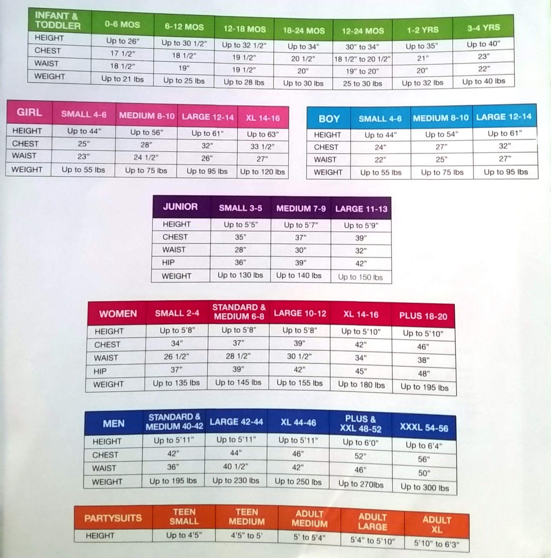 suit yourself size chart, amscan size chart, costumes usa