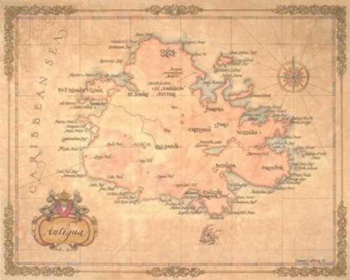 Antique Style Map of Antigua on united states virgin islands, map of st. lucia, map of panama, saint kitts, antigua and barbuda, map of caribbean, saint lucia, map of tortola, map of guatemala, map of st maarten, map of aruba, map of barbuda, map of trinidad, map of jamaica, map of anguilla, turks and caicos islands, map of virgin islands, caribbean sea, map of guadeloupe, map of isla de roatan, map of west indies, map of barbados, saint thomas, map of dominica, map of st kitts, map of belize, british virgin islands,