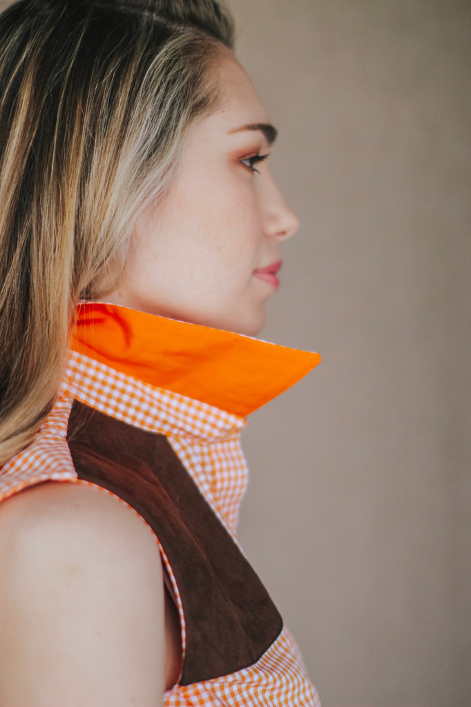 Sleeveless Orange Gingham Shooting Shirt