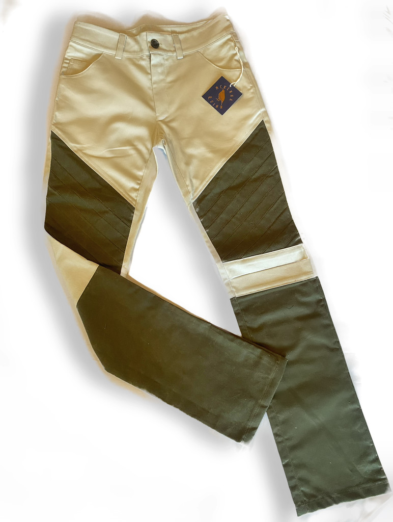 Upland Pants in Khaki with Moss Green Wax