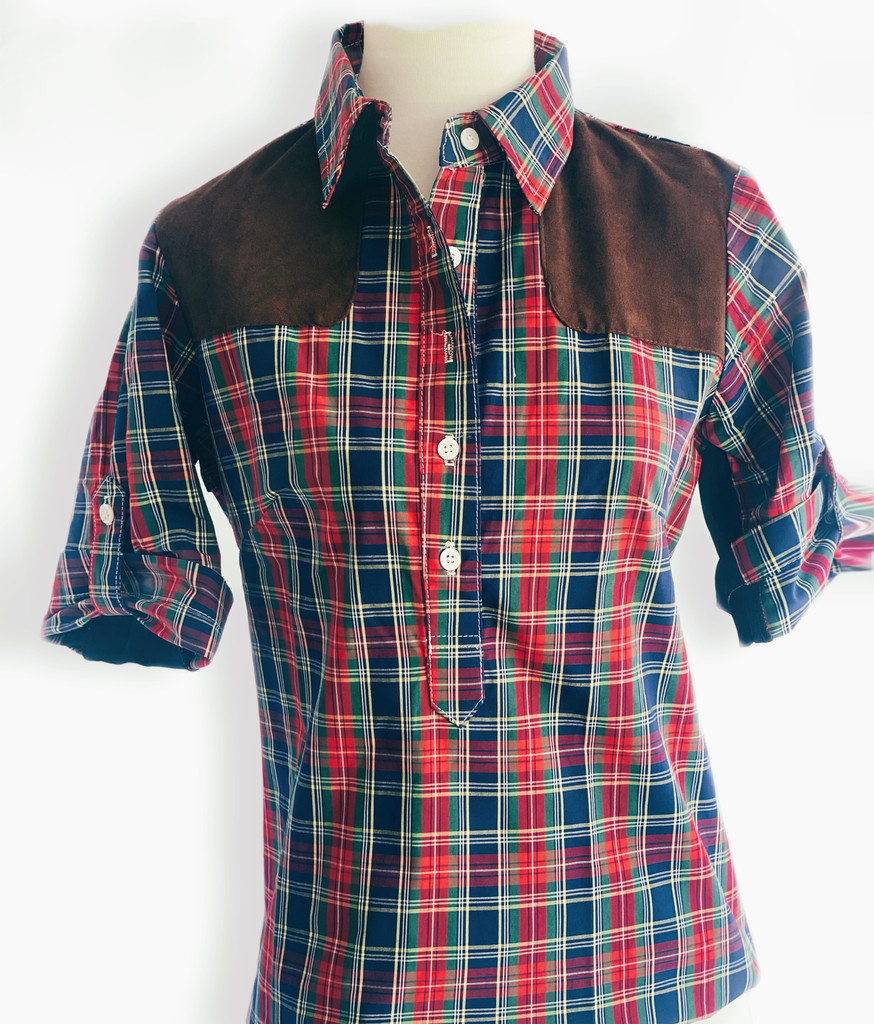 SHORT SLEEVE 5 BUTTON POPOVER STYLE SHOOTING SHIRT IN PLAID