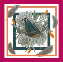 Small California Quail with Pink Border