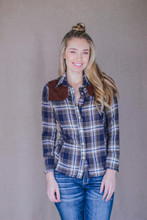 Piper Butter Soft Navy Plaid Button Down Shooting Shirt