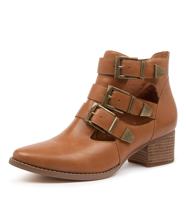LETTIE TAN ANKLE BOOTS