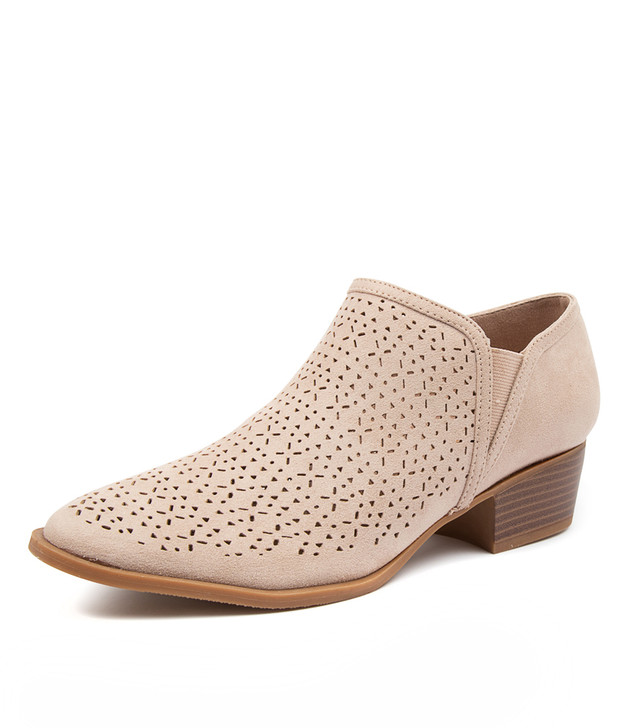 PURRTIE BLUSH MICROSUEDE ANKLE BOOTS