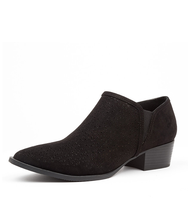 PURRTIE BLACK MICROSUEDE ANKLE BOOTS