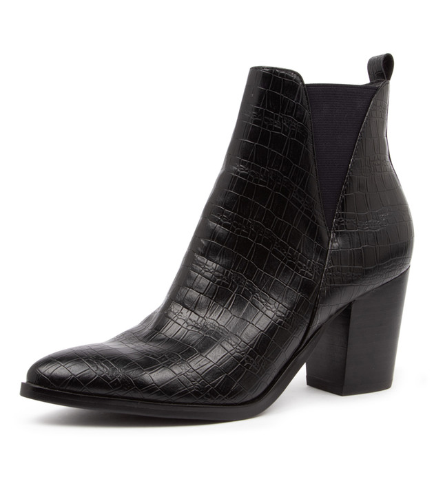 TYRION BLACK CROC ANKLE BOOTS