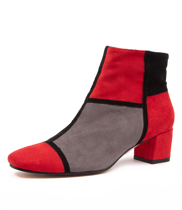 HUTCH RED GREY MULTI ANKLE BOOTS