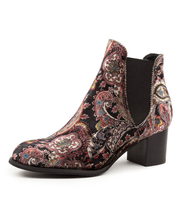 JALISES BLACK/ RED PAISLEY BOOTS