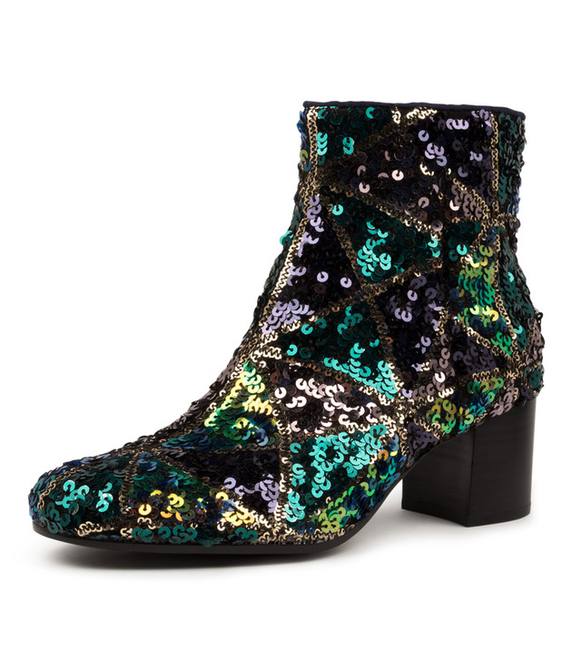 NELLIE NAVY/ MULTI SEQUIN BOOTS