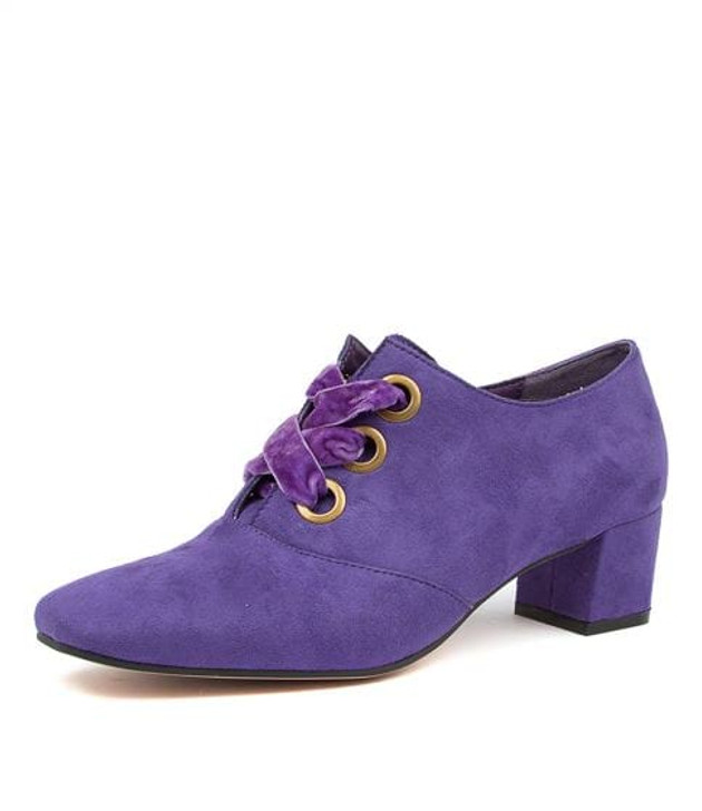 HUDA PURPLE MICROSUEDE ANKLE BOOTS