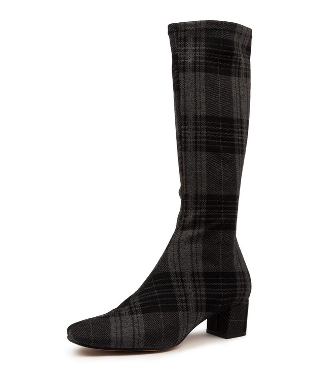 HOYTY BLACK GREY CHECK FABRIC BOOTS