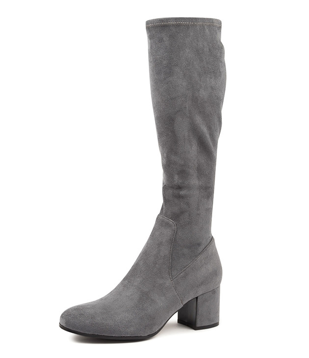 NEOLAS GREY STRETCH MICROSUEDE KNEE HIGH BOOTS
