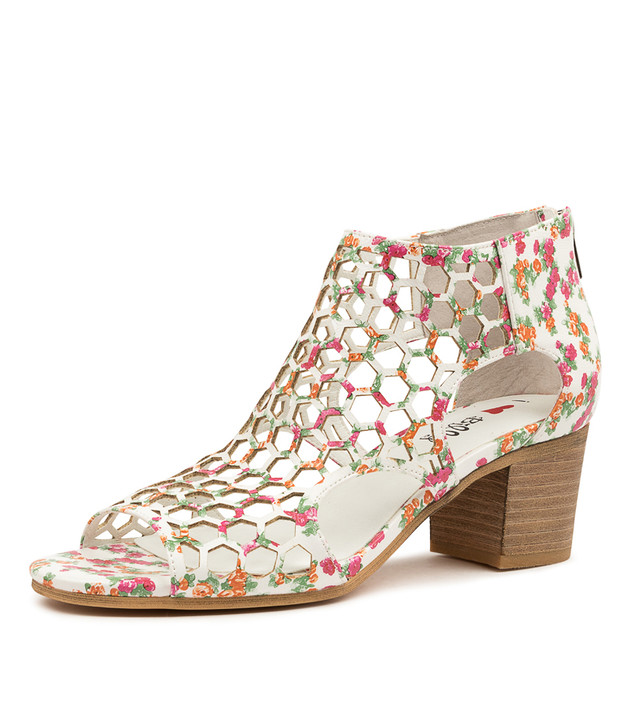 BETTERLY WHITE FLORAL HEELED SANDALS