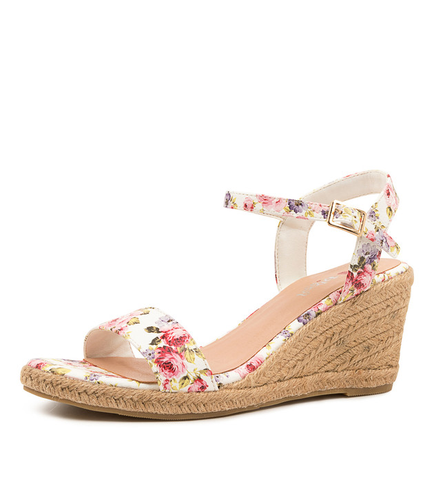 FARLY WHITE FLORAL WEDGE SANDALS