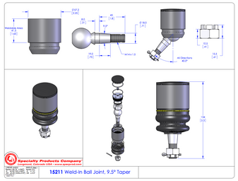 Custom Builder Upper Control Arm Ball Joint. Universal Fit