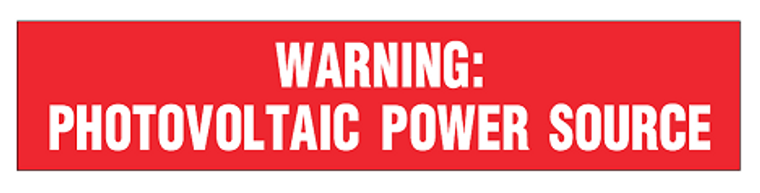 Solar PV Label - WARNING PHOTOVOLTAIC POWER SOURCE