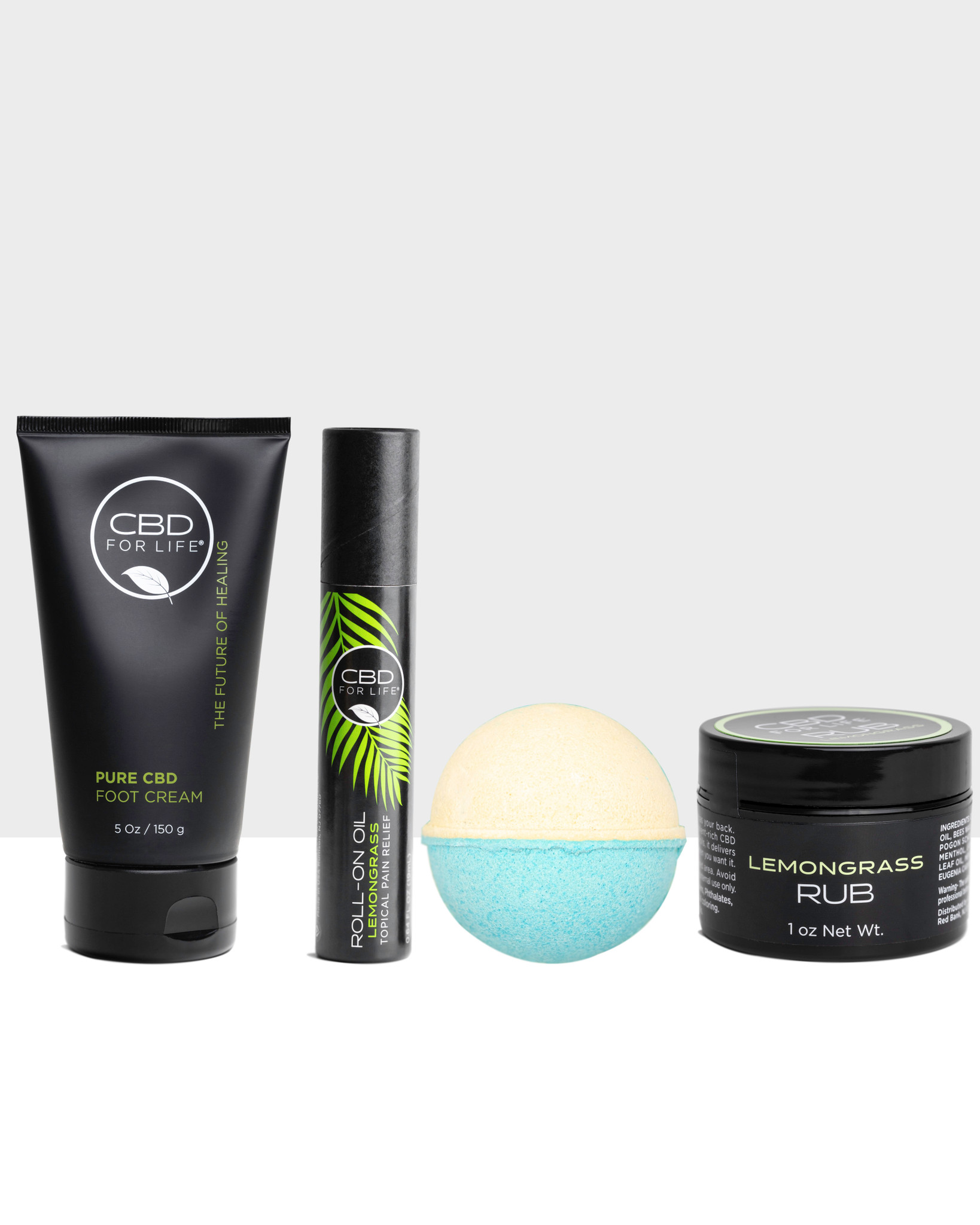 Give them All The Feels with our feel-good CBD lemongrass gift set. Includes four fan favorites: CBD Lemongrass Rub, CBD Lemongrass Roll-On, CBD Lemongrass Kiwi Bath Bomb, CBD Foot Cream.
