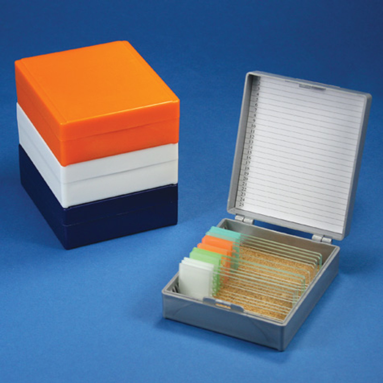 RED nickel-plated clasp Microscope slide storage box foam lined holds 100 slides EA Stellar Scientific
