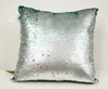 Decorative Sequin Throw Pillow 17x17 Inch, Comfortable Fill For Living Room, Couch, Bedroom, Fun Mermaid Reversible Style Emerald / Gray