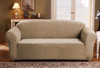 Linen Store Sicily Furniture Slipcover, 1-Piece Form Fit Soft Stretch Fabric Jacquard Couch Cover, Grey, Brown, Sand - 3 Sizes