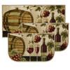 "Wine Barrel 3pc Kitchen Rug Set, (2) Slice 18""x30"" Rugs, (1) 20""x40"" Mat, Non-Slid Latex Back"