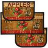 "Apple Cider 3pc Kitchen Rug Set, (2) Slice 18""x30"" Rugs, (1) 20""x40"" Mat, Non-Slid Latex Back"