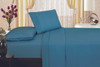 1800 Series Plaza Home Embroidery Vine Sheet Set - Mid Blue