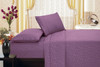 Brushed Microfiber 1800 Series Embossed Flower Sheet Set, Fitted Sheet, Flat Sheet, Pillowcases - Purple