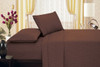 Brushed Microfiber 1800 Series Embossed Flower Sheet Set, Fitted Sheet, Flat Sheet, Pillowcases - Chocolate