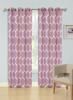 Jacquard Wave Grommet Window Curtain Panel, Quinn, 54x90, 1 Panel - Burgundy