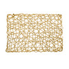"Set of 4 Holiday Decorative 12""x18"" Rectangle Woven Metallic Foil Shining Placemats, Chargers Gold"