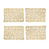 "Set of 4 Holiday Decorative 12""x18"" Rectangle Woven Metallic Foil Shining Placemats, Chargers, Gold 4 Place mats"