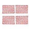 "Set of 4 Holiday Decorative 12""x18"" Rectangle Woven Metallic Foil Shining Placemats, Chargers Red 4 Place mats"