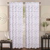 Double-Layer Embroidery Floral Vine Sheer Front / Fauz Silk Back Rod Pocket Decorative Curtain Panel 55x84 Inch with 18 Inch Valance, Alma Single Drape Panel