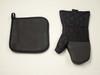 2 Piece Pot Holder & Oven Mitt Kitchen Accessories Set Black