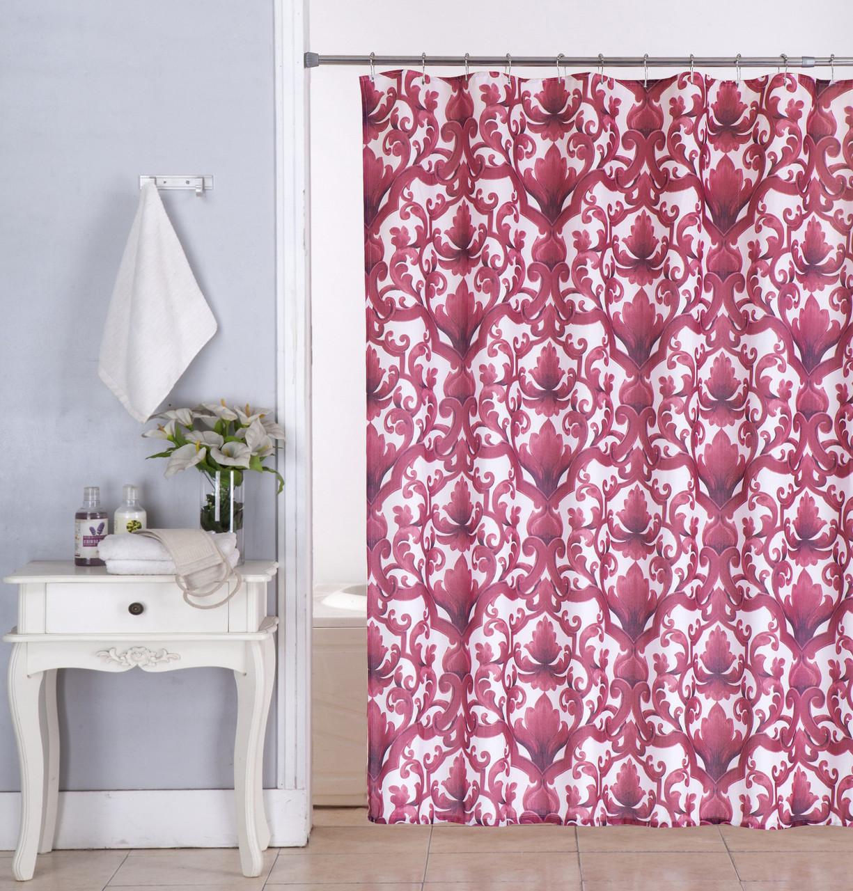 Kashi Home Ariel Burgundy 13pc Canvas Shower Curtain Roller Hooks Set