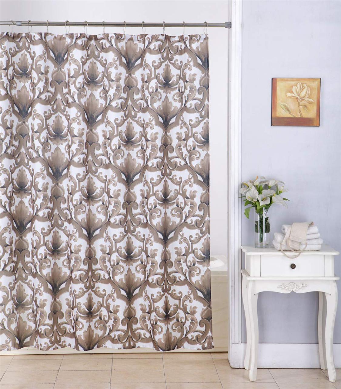Kashi Home Ariel 70x70 Inch Canvas Fabric Shower Curtain Scroll Damask Print Chocolate