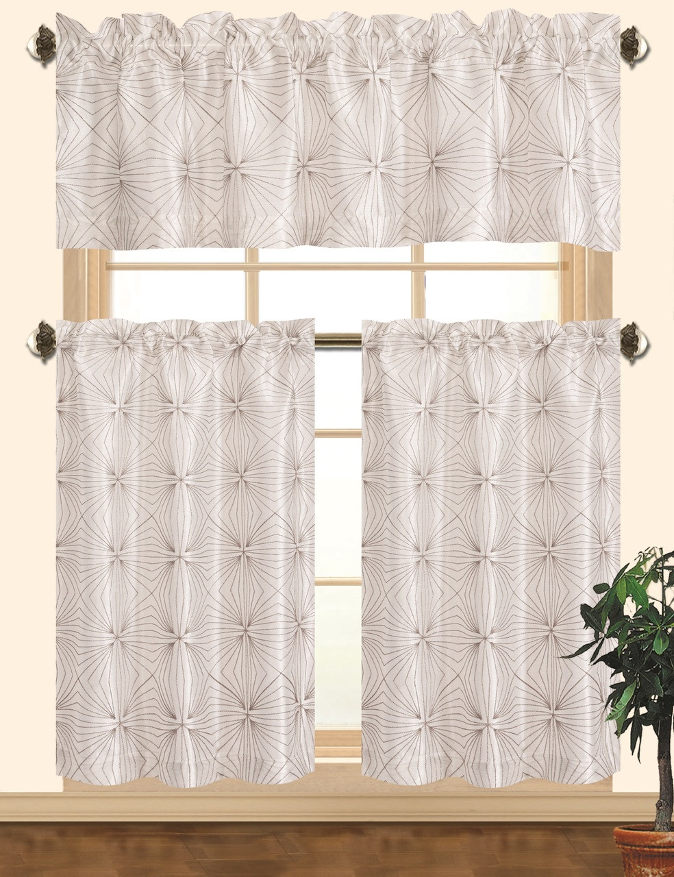 Kashi Home Dana Kitchen Curtain Set, Decorative Faux Silk 3pc Rod Pocket  Valance & Panels with Geometric Embroidery Design