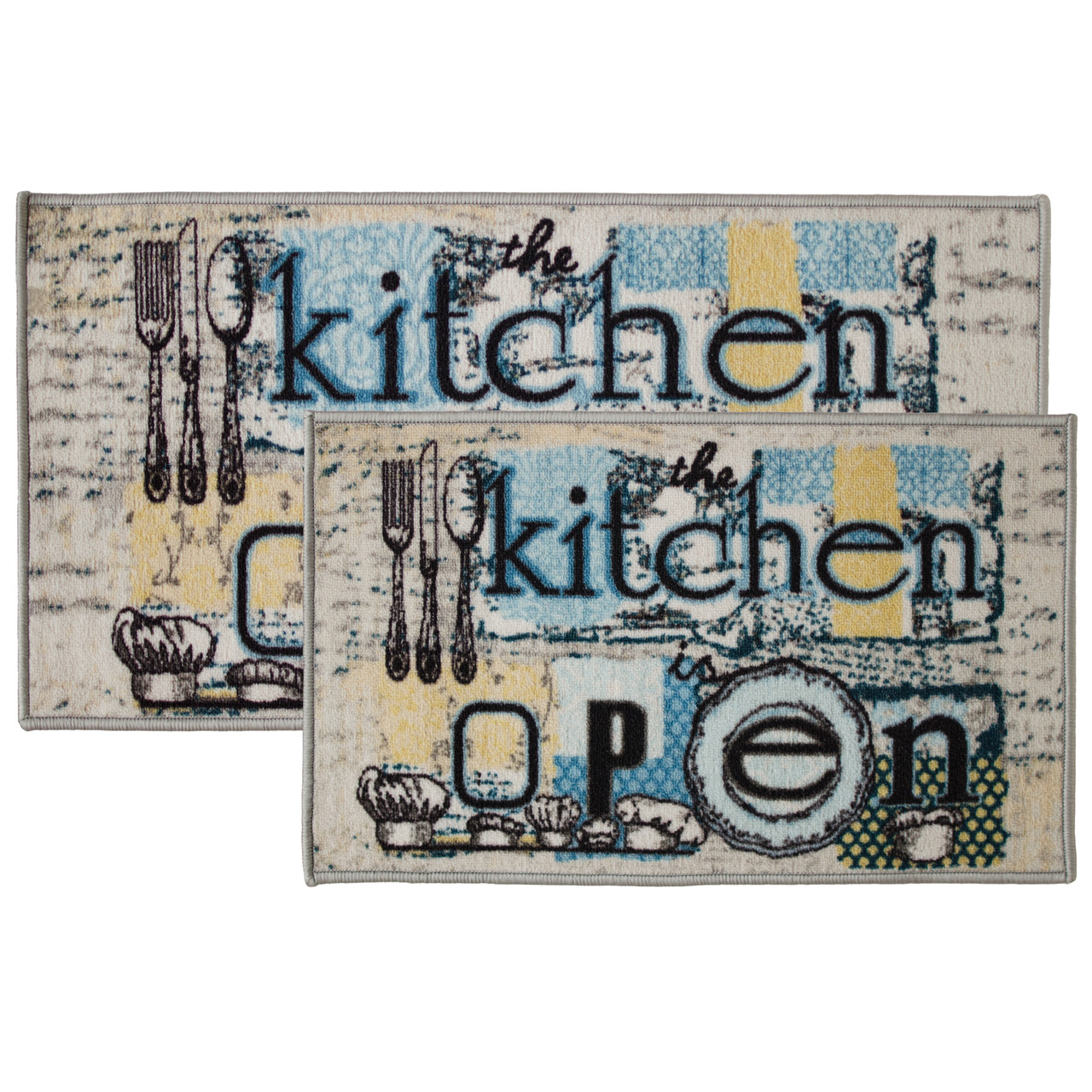 2pc Open Kitchen Kitchen Rug Set, Area Rug, Mat, Carpet, Non-Skid Latex  Back (18x30 Rectangle & 20x40)