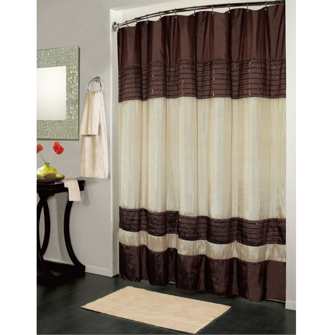 Brown Ivory Ibiza Shower Curtain