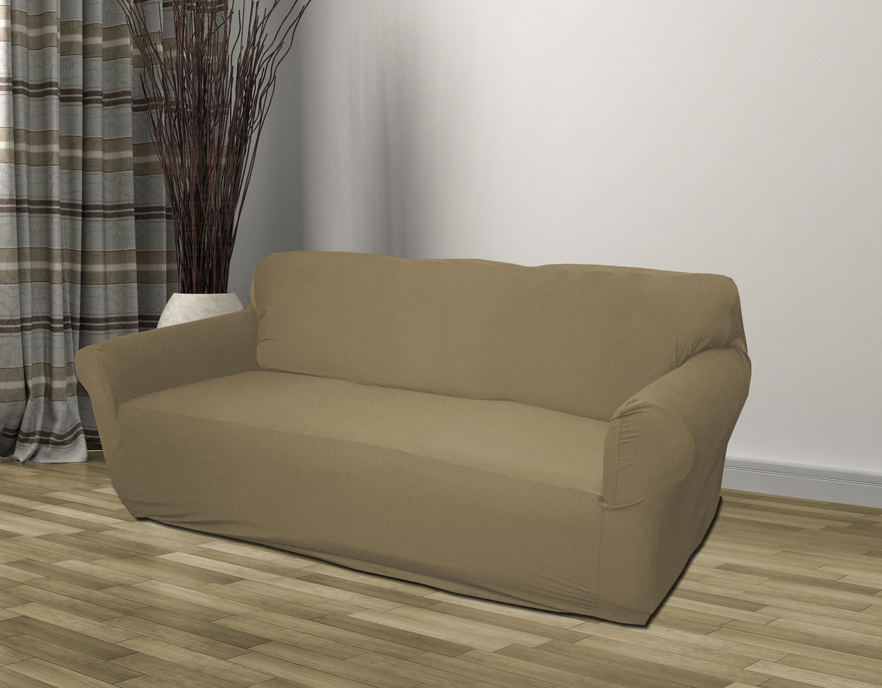Kashi Home Stretch Jersey Slipcover Taupe - Sofa, Loveseat, Chair
