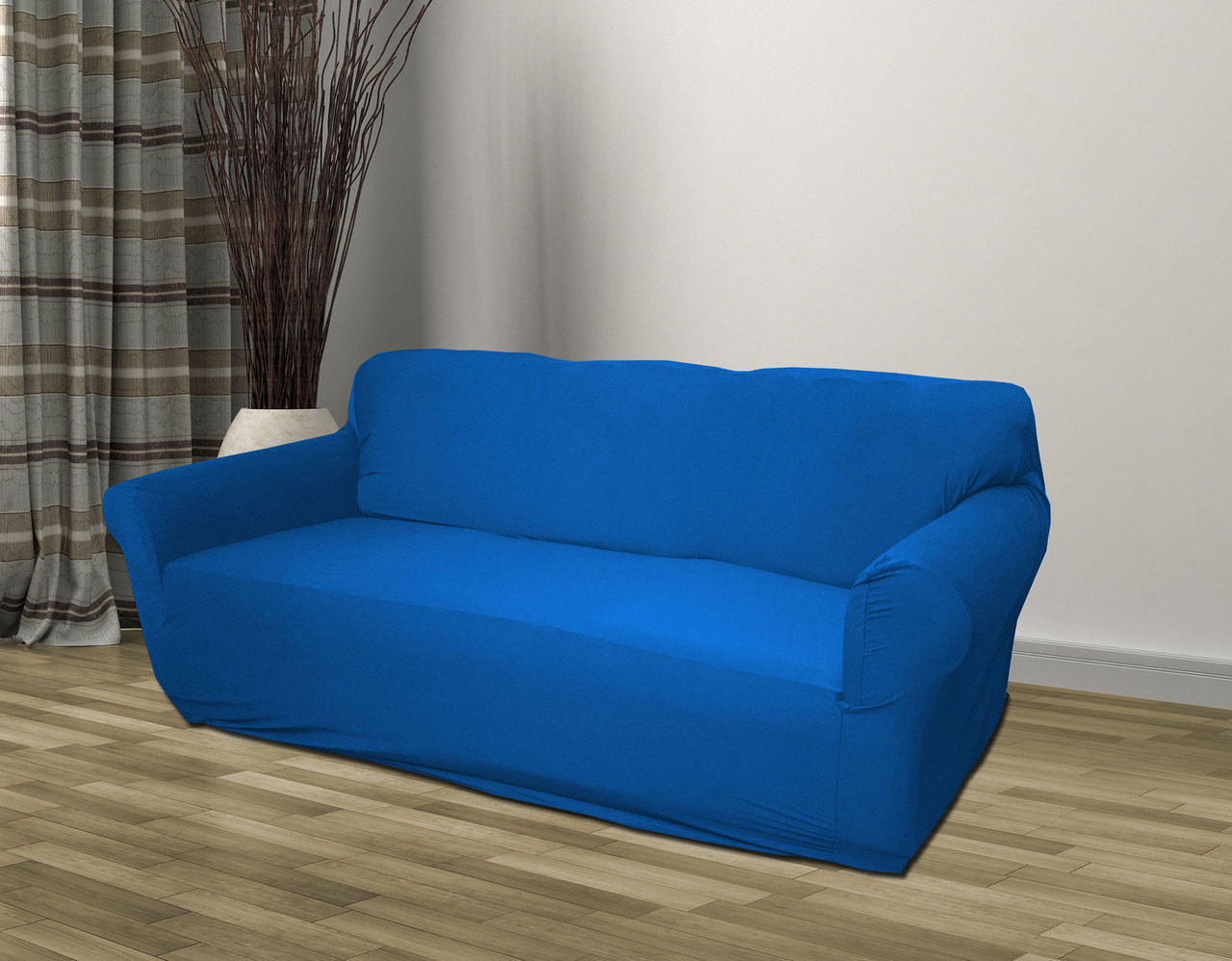 Terrific Kashi Home Stretch Jersey Slipcover Blue Sofa Loveseat Chair Machost Co Dining Chair Design Ideas Machostcouk