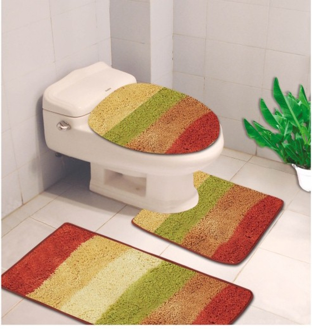 3 Piece Denise Striped Bathroom Blue Red Contour Rug And Toilet Cover Mat Set
