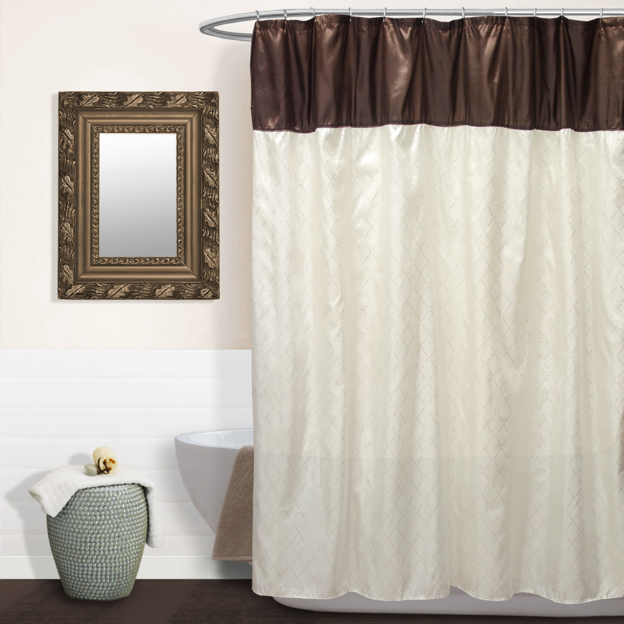 Sequin Taffeta Fabric Shower Curtain 70x72 Monaco