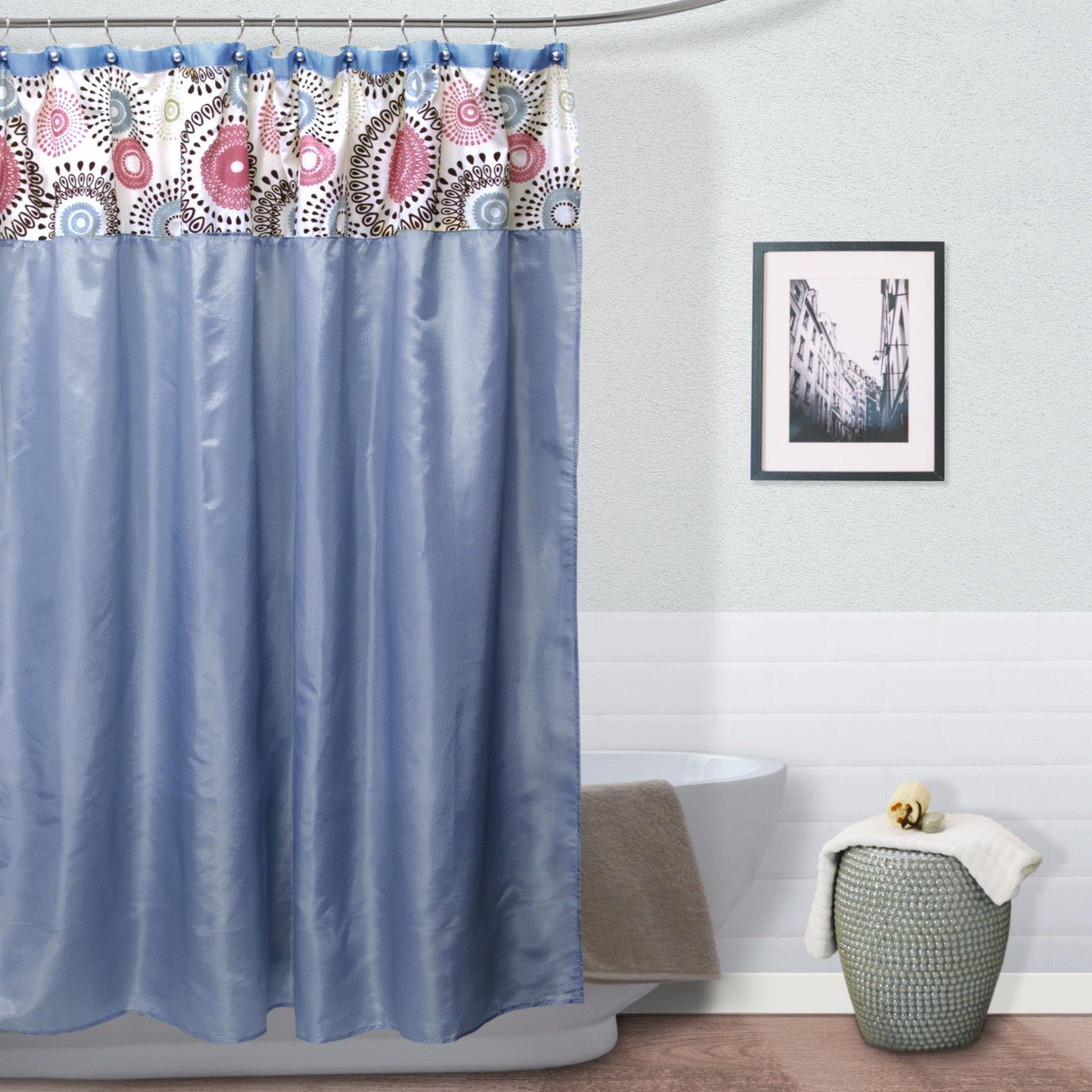 Meghan Fabric Shower Curtain Jointed Teardrops Flocking Top Blue Chocolate Or Burgundy