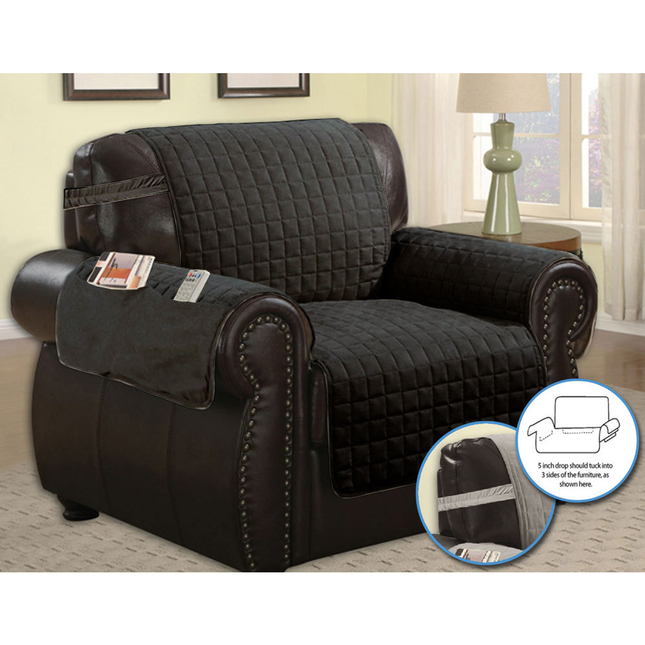 Quilted Microfiber Pet Dog Couch Sofa Furniture Protector Cover w// Tucks /& Strap