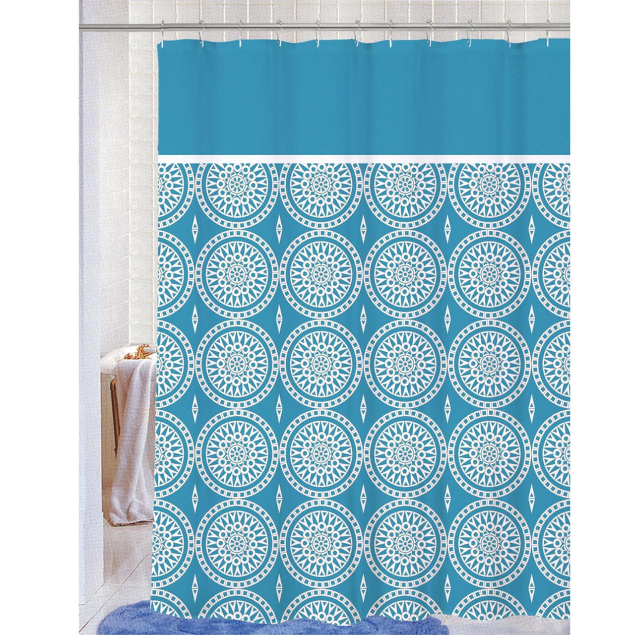 Soft Microfiber Fabric Printed Shower Curtain Geometric Medallion Design 70x72 Blaire