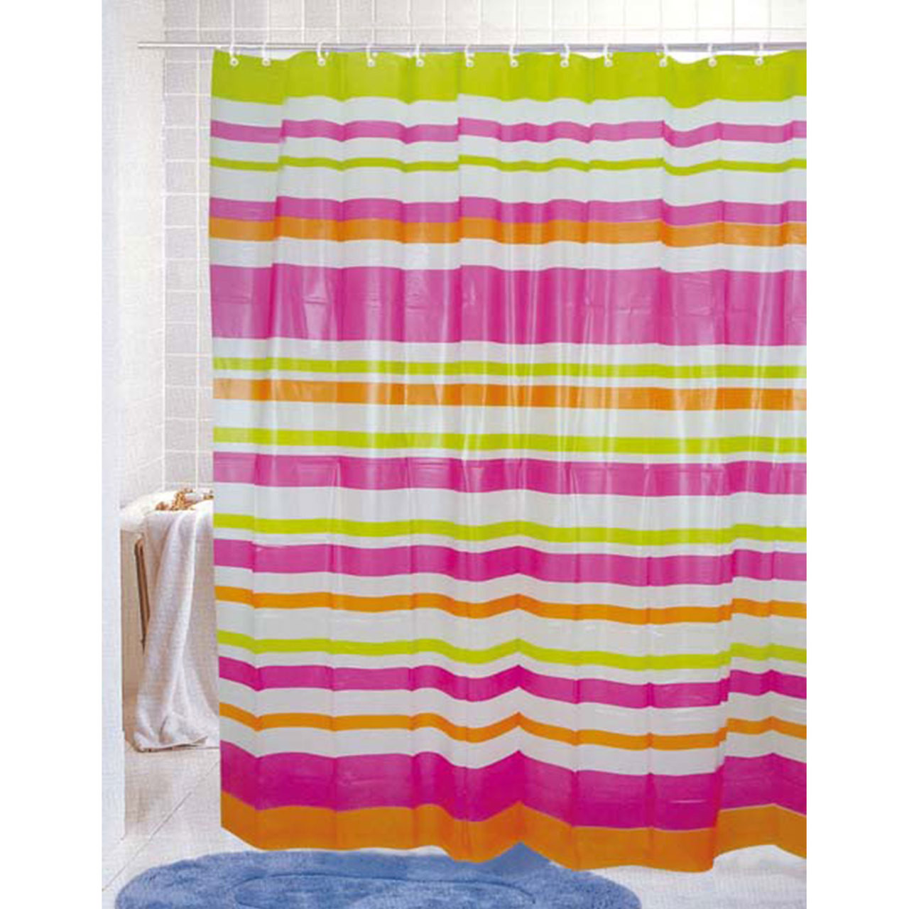 Pvc Free Peva Printed Shower Curtain Colorful Strata Stripes Print 70x72 Maggie